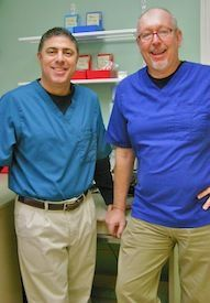 Dr. Warren Berne and Dr. John Anderson ready to address your denture repair needs.